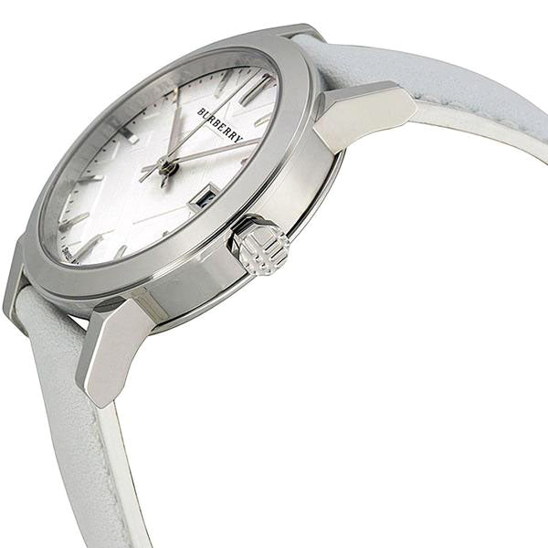 White Impressed Check Dial White Leather Strap Ladies Watch