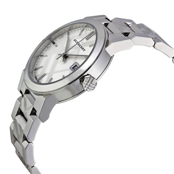 Silver Check Stamped Dial Stainlkess Steel Ladies Watch