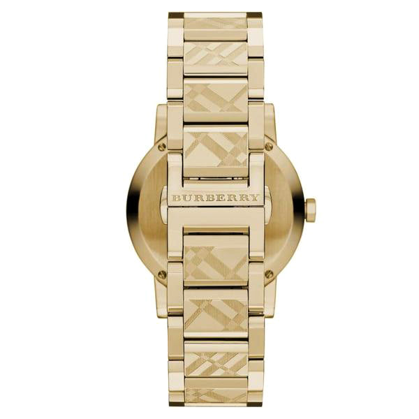 Gold Check Stamped Dial Stainless Steel Ladies Watch