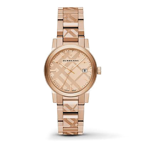 Rose Gold Check Stamped Dial Stainless Steel Ladies Watch