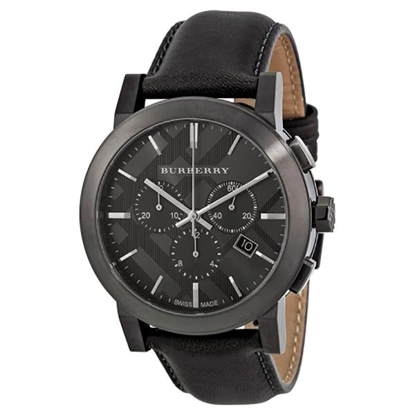 Chronograph Dark Grey Dial Dark Grey Leather Men's Watch
