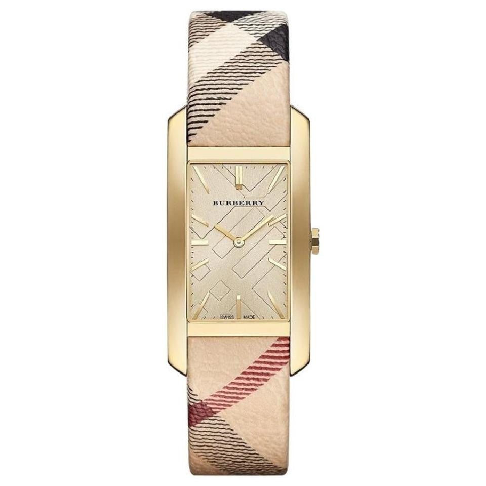 The Pioneer Gold Check-stamped Dial Haymarket Check Ladies Watch