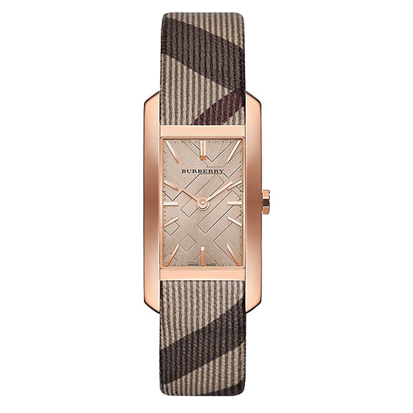 The Pioneer Nova Check Strap Rose Gold Tone Ladies Watch