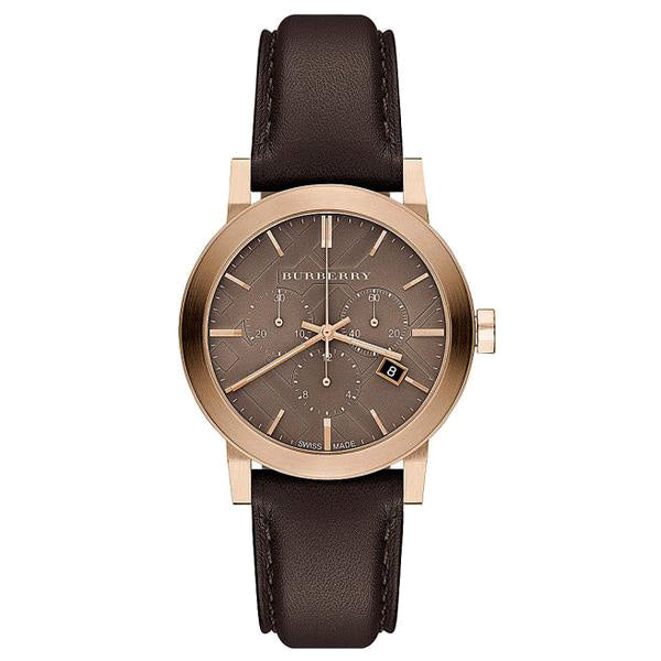The City Chronograph Rose Gold Ion-plated Brown Leather Ladies' Watch