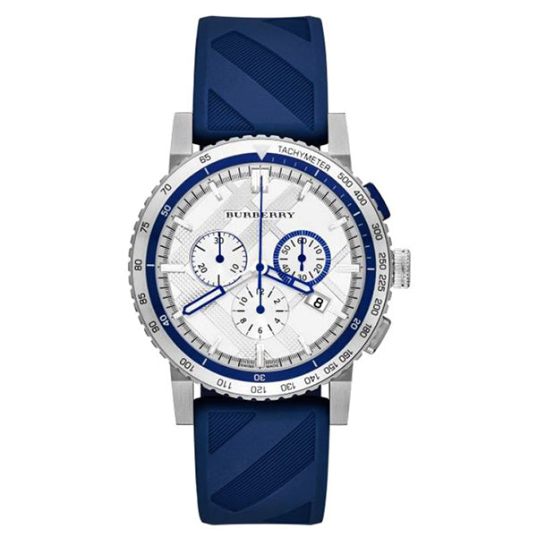 The City Chronograph Silver Dial Blue Rubber Men's Watch