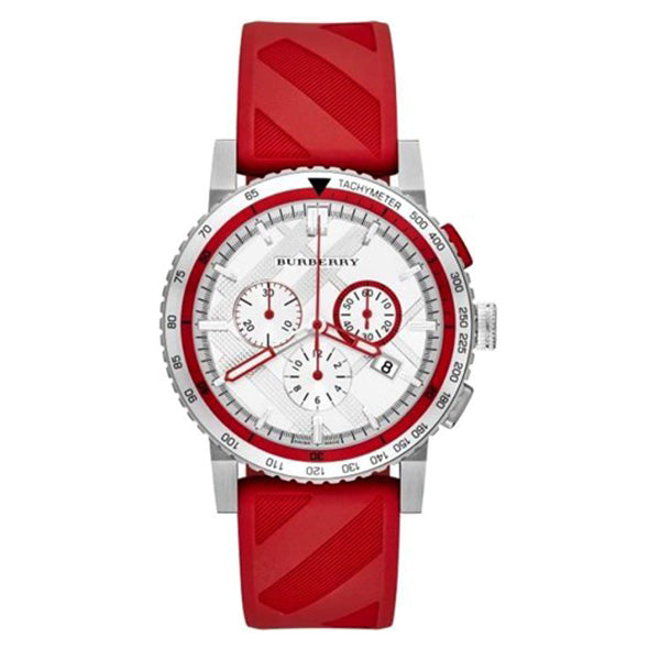 The City Chronograph Silver Dial Red Rubber Men's Watch