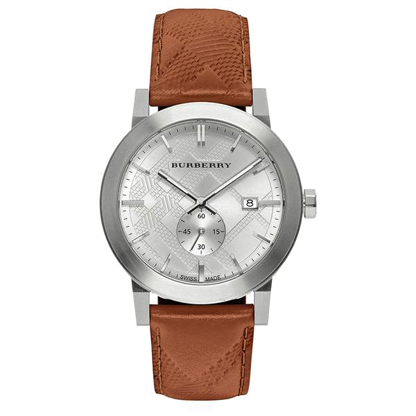 The City Silver Dial Stainless Steel Brown Leather Men's Watch