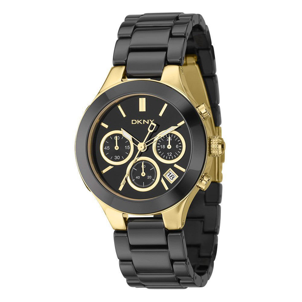Black Dial Chronograph Gold-tone Black Ceramic Ladies Watch