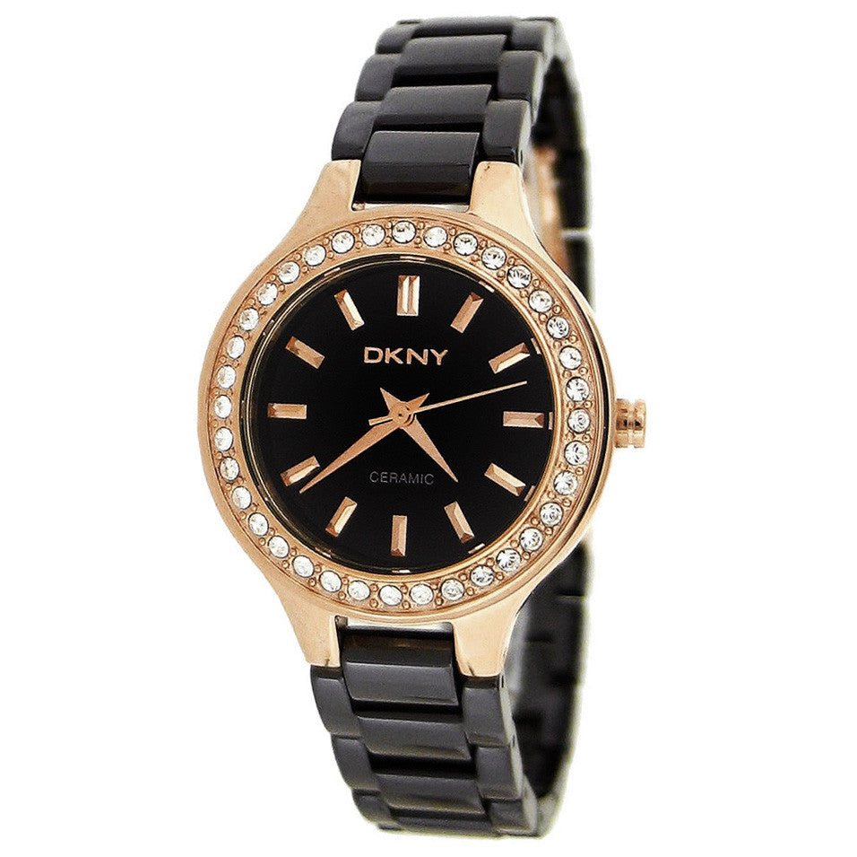 Black Dial Gold-tone Black Ceramic Ladies Watch