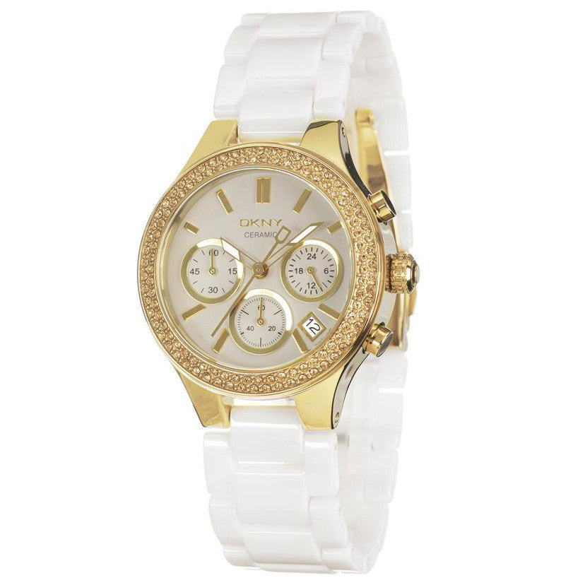 White Dial Gold-tone White Ceramic Ladies Watch