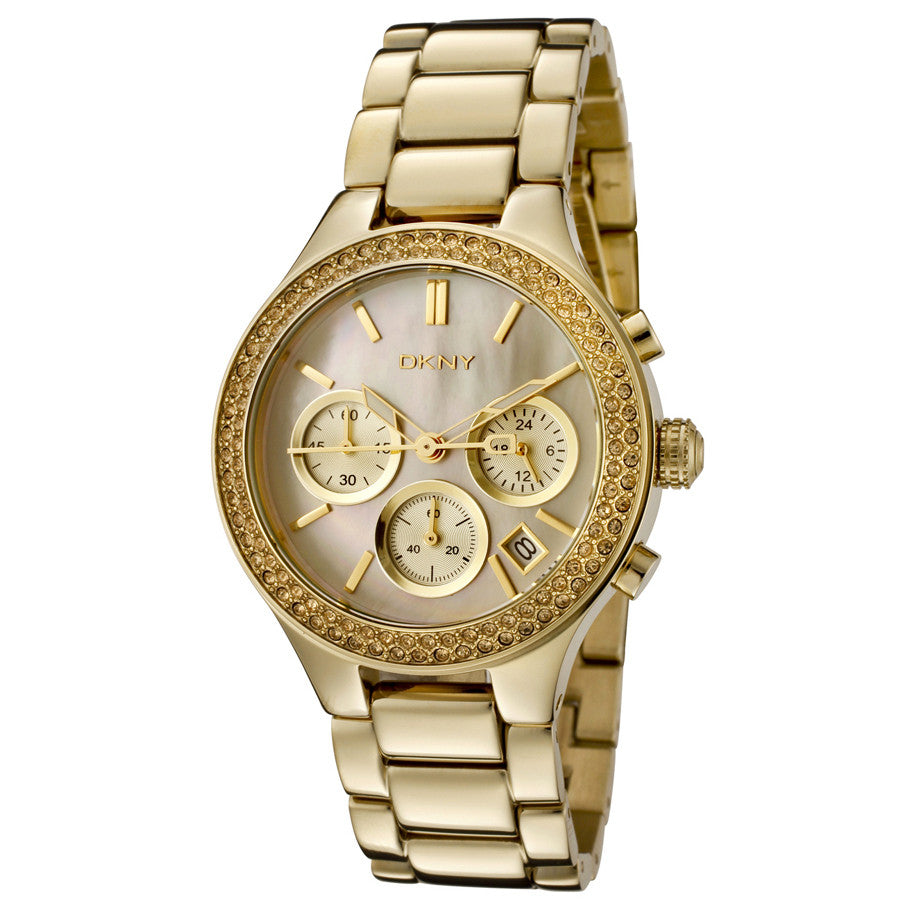 Gold tone Stainless Steel Ladies Watch with Mother of Pearl Dial