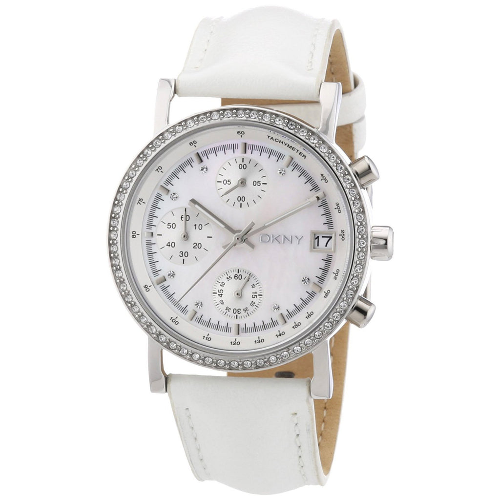 Glitz Steel Chronograph Ladies Watch on Leather Strap