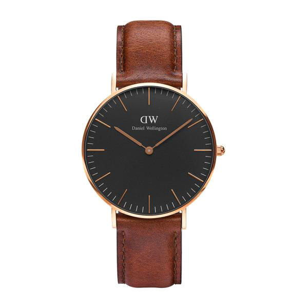 Classic Black St Mawes Rose Gold 36mm Ladies Watch
