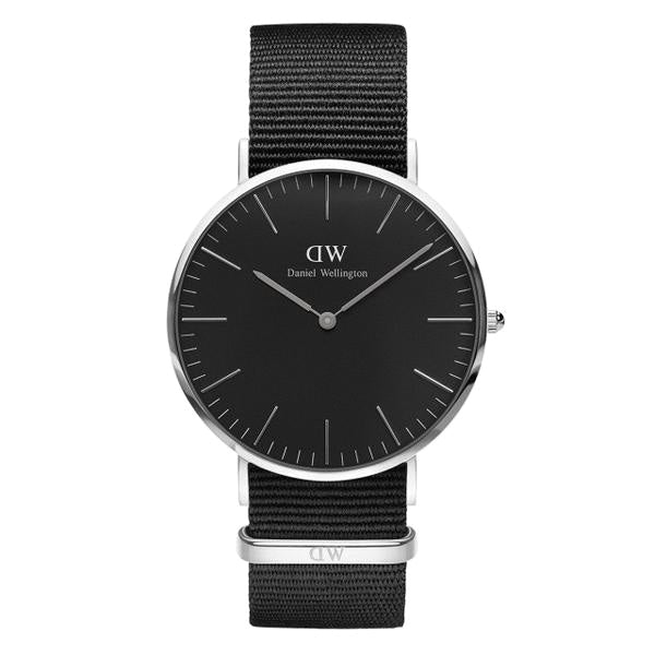 Classic Black Cornwall Silver 40mm Men's Watch