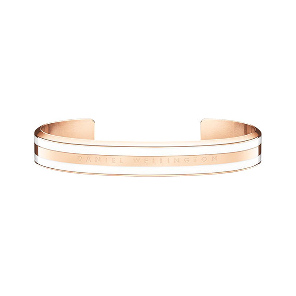 Classic Bracelet Satin White in Rose Gold Large