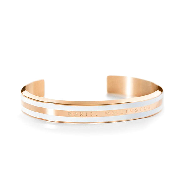 Classic Bracelet Satin White in Rose Gold Small