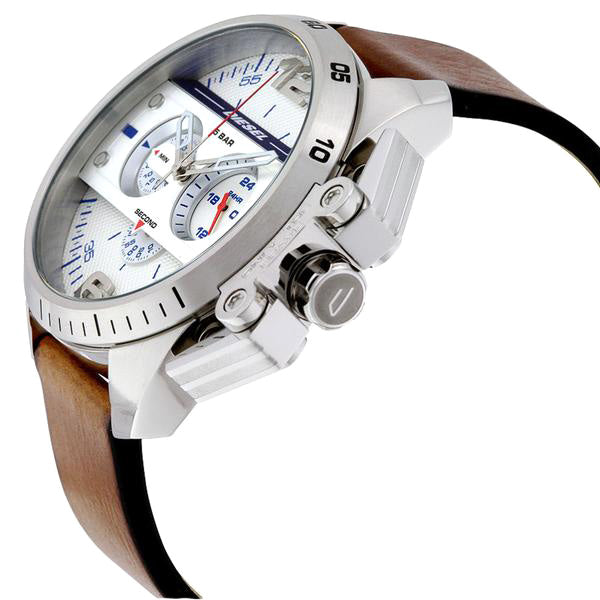 Ironside Chronograph Silver Dial Brown Leather Men's Watch