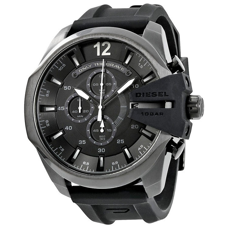 Chief Black Dial Black Silicone Men's Chronograph Watch