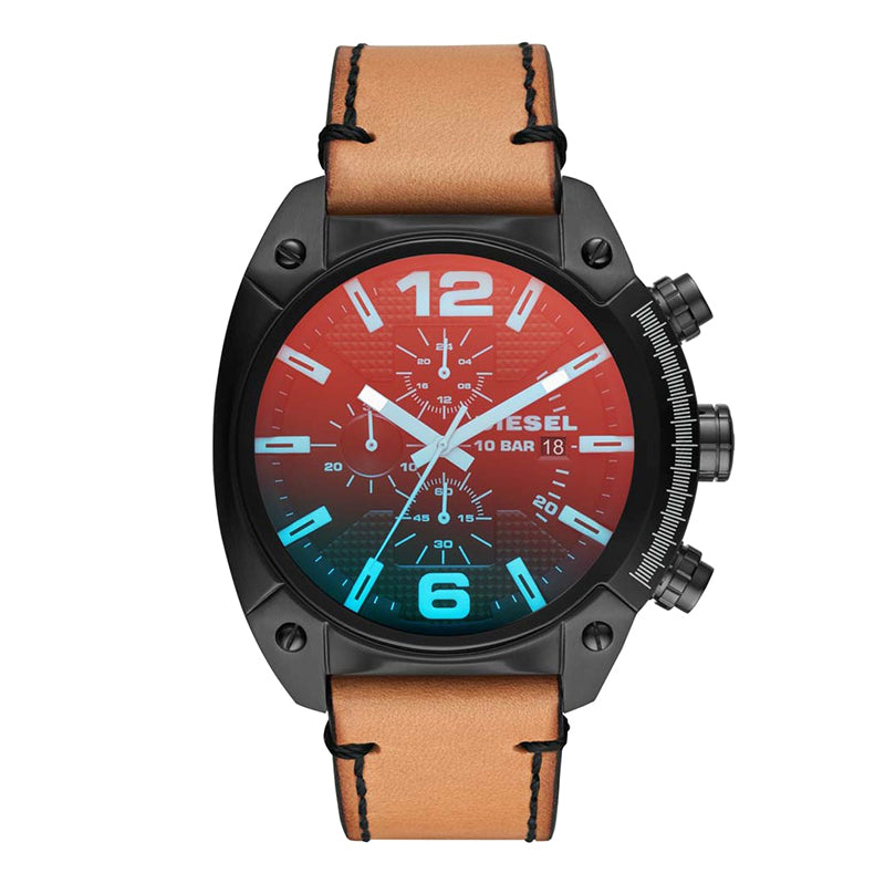 Overflow Chronograph Black Dial With Brown Leather Strap Men's Watch