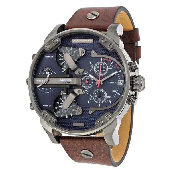 Mr Daddy Dual Time Chronograph Navy Blue Dial Leather Men's Watch