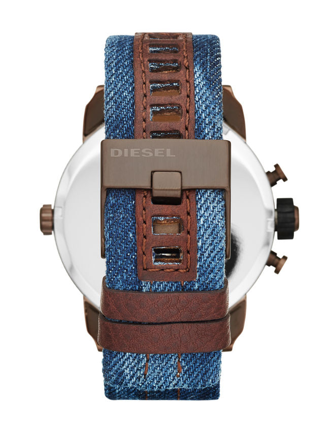 Little Daddy Brown-Plated Chronograph Dark Blue Denim Men's Watch