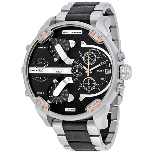 Mr. Daddy 2.0 Black Dial Stainless Steel and Black Leather Men's Watch