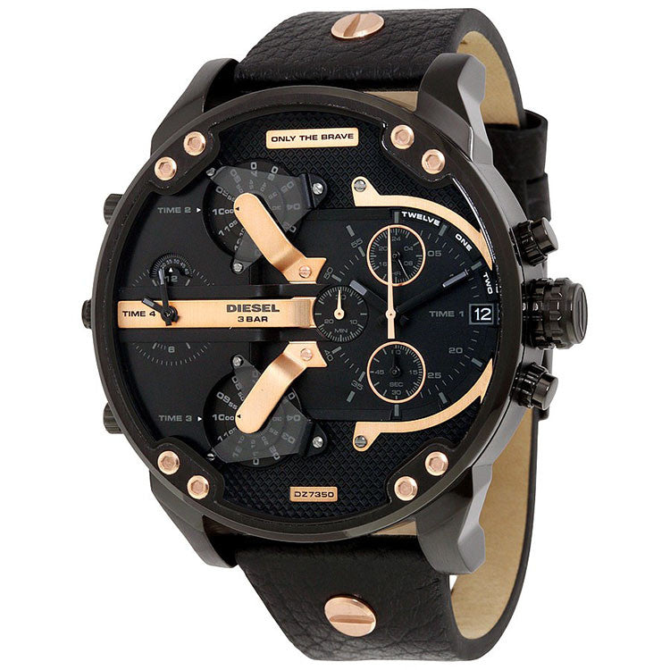 Mr. Daddy 2.0 Chronograph Black Dial Black Leather Men's Watch