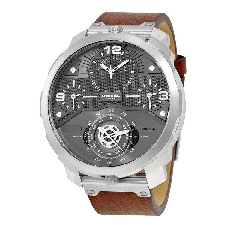 Machinus Guntmetal Dial 4 Timezone Men's Watch