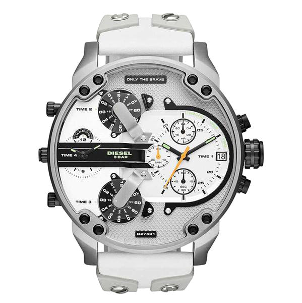 Mr Daddy Chronograph White Dial White Silicone Men's Watch