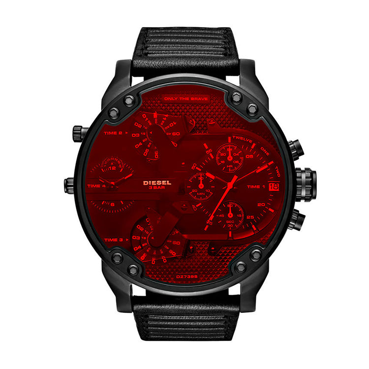 Men's Chronograph Mr. Daddy 2.0 Black Leather Strap With Red Crystal Lens Watch
