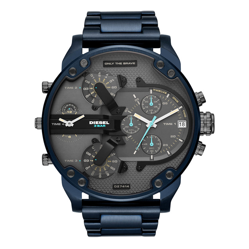 Men's Chronograph Mr. Daddy 2.0 Grey Dial With Blue Tone Stainless Steel Bracelet Watch