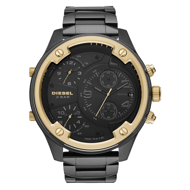 Men's Chronograph Boltdown Black Dial With Black Stainless Steel Bracelet Watch