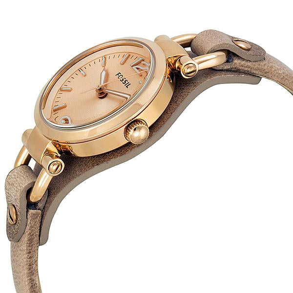 Georgia Mini Rose Dial Sand Leather Strap Ladies Watch