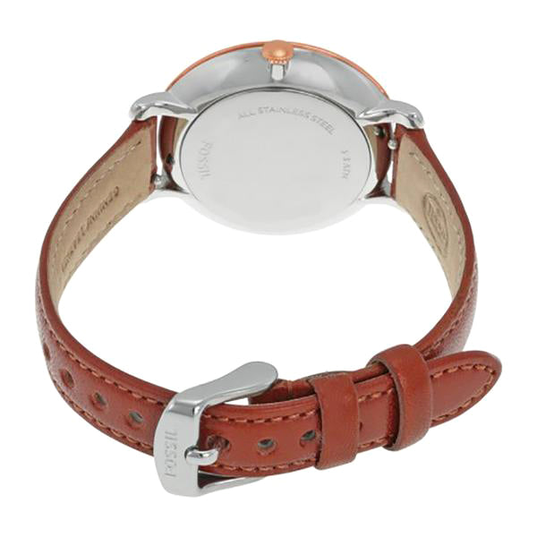 Jacqueline Silver Dial Brown Leather Ladies Watch