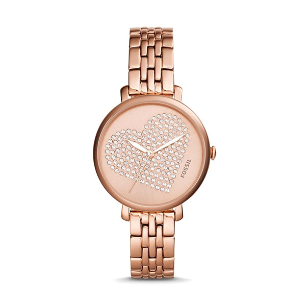 Jacqueline Rose Gold Dial with Gold-tone Stainless Steel Bracelet Ladies Watch