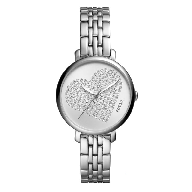 Jacqueline Stainless Steel Silver Sunray Dial with Glitz Heart Icon Ladies Watch