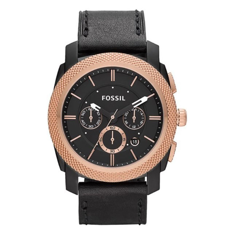 Machine Chronograph Black Leather Men's Watch