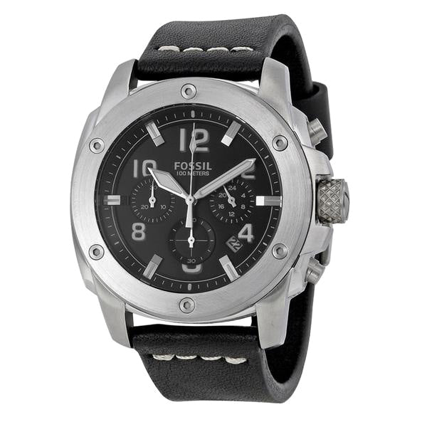 Machine Chronograph Black Dial Black Leather Men's Watch