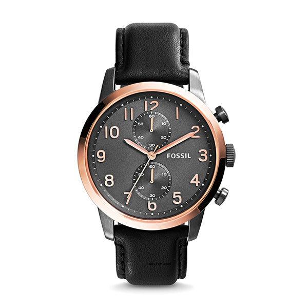 Townsman Chronograph Black Dial Black Leather Men's Watch