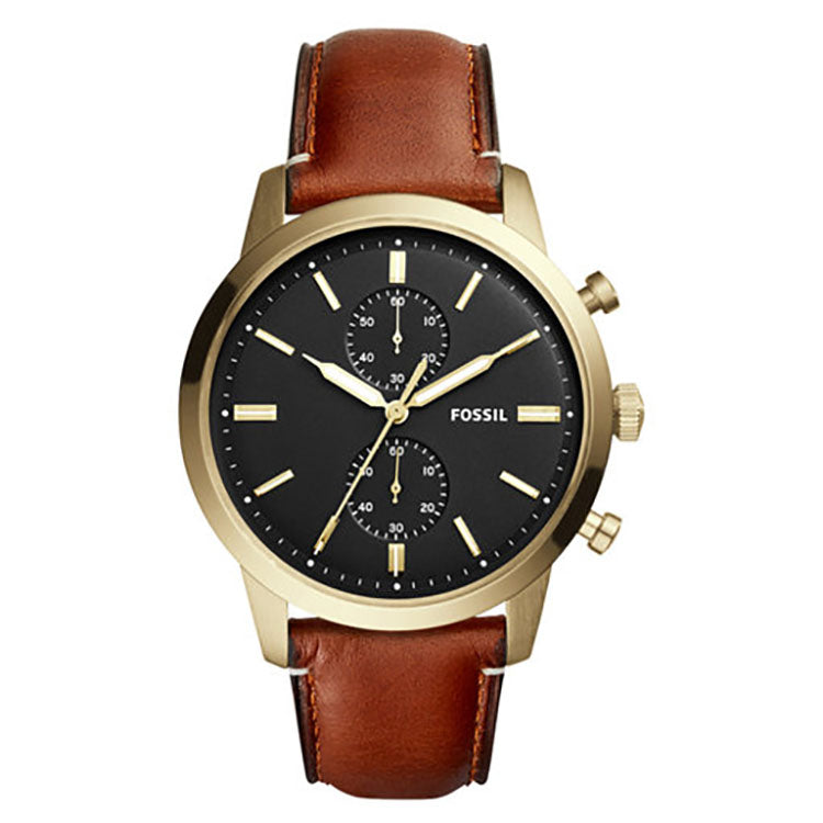 Townsman Chronograph Black Dial Brown Leather Men's Watch