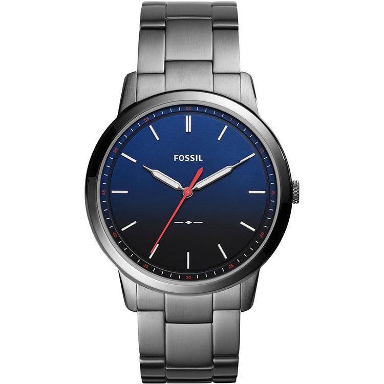 The Minimalist Slim Blue Ombre Dial Gunmetal Stainless Steel Men's Watch