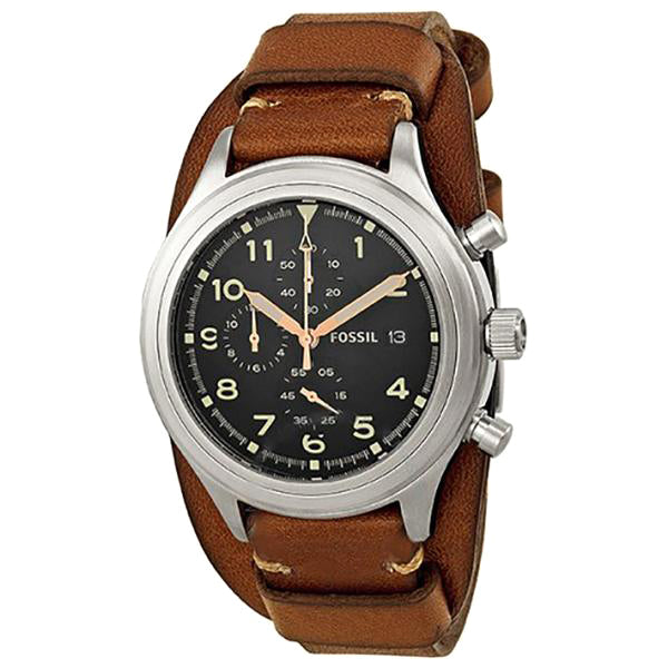 Compass Chronograph Brown Leather Men's Watch