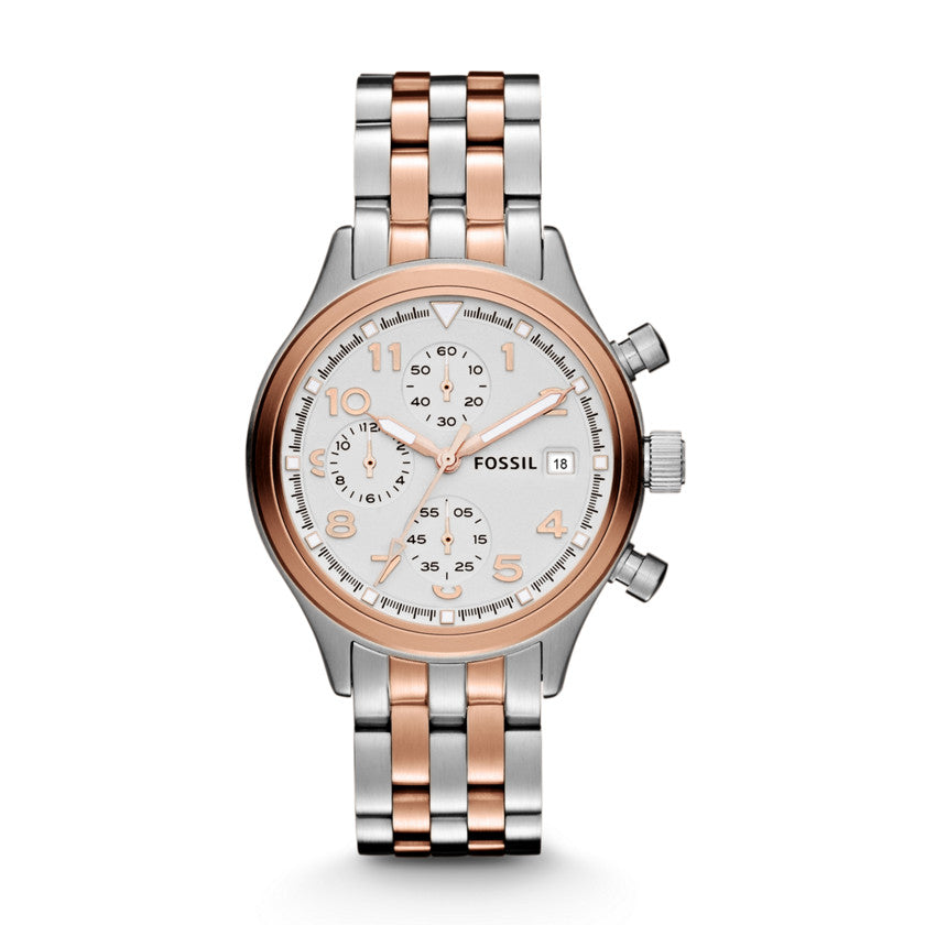 Fossil Compass Two Tone Stainless Steel Ladies' Watch