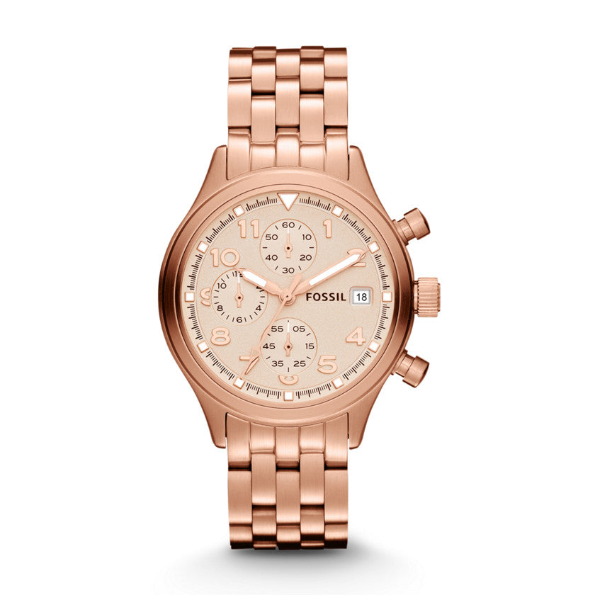 Fossil Compass Rose Gold-Tone Stainless Steel Ladies' Watch