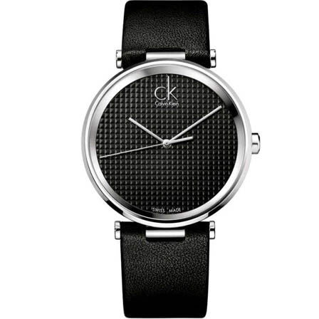 Sight Black Leather Black Dial Mens Watch