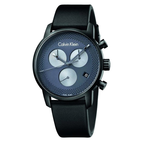 City Chronograph Black Leather Black Dial Men's Watch