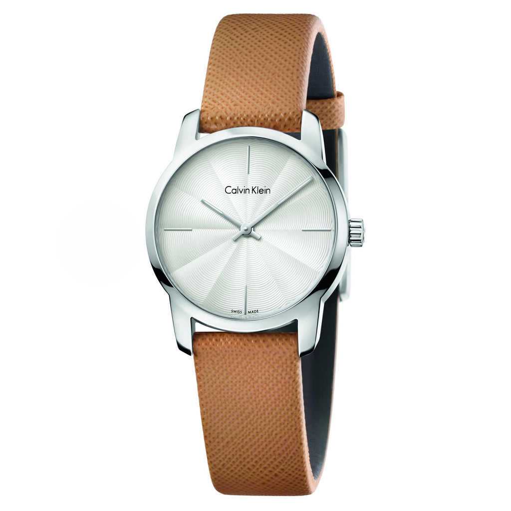 City White Dial Brown Leather Ladies' Watch