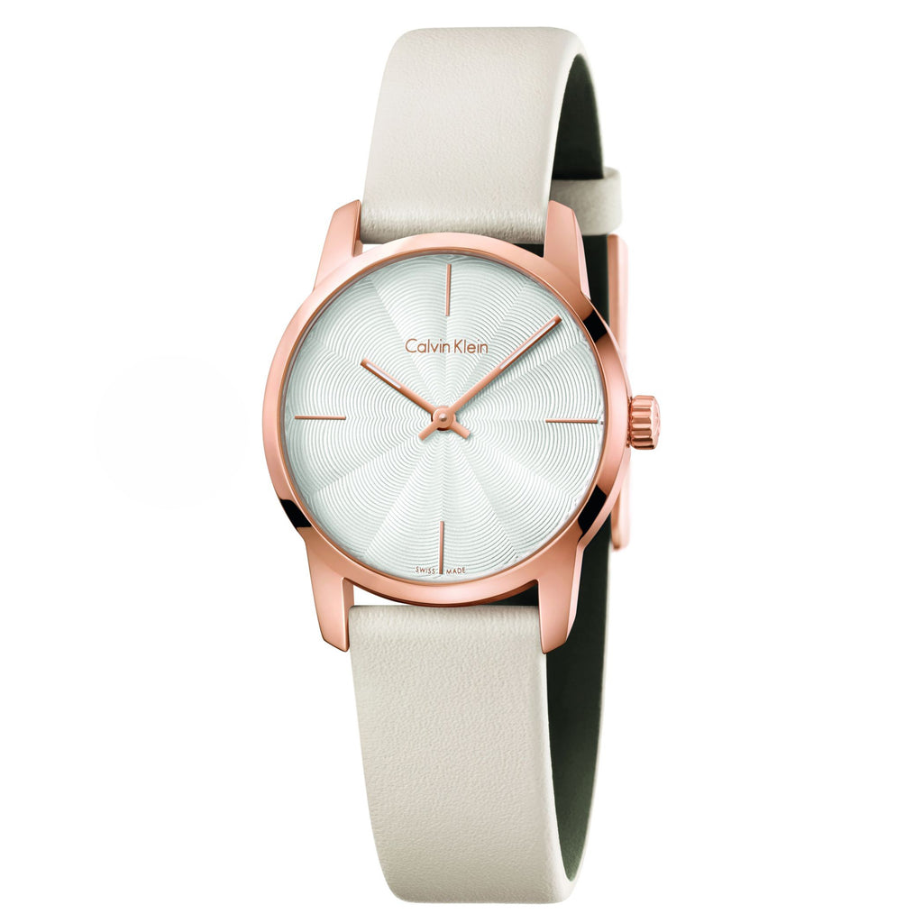 City Silver Dial White Leather Ladies' Watch
