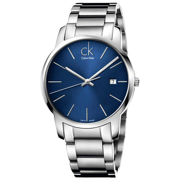 City Date Blue Stainless Steel Men's Watch