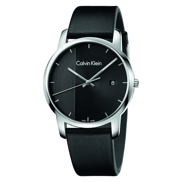 City Black Leather Black Dial Men's Watch